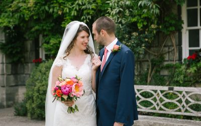 Alix and Chris' bold & bright Oxford College wedding