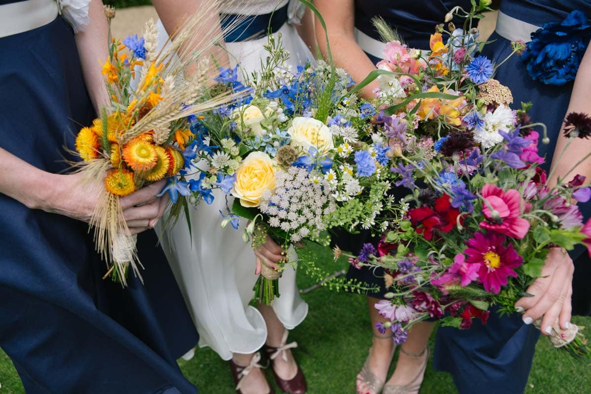 A close up of the colourful bouquets. Each one represents the personality of its owner.