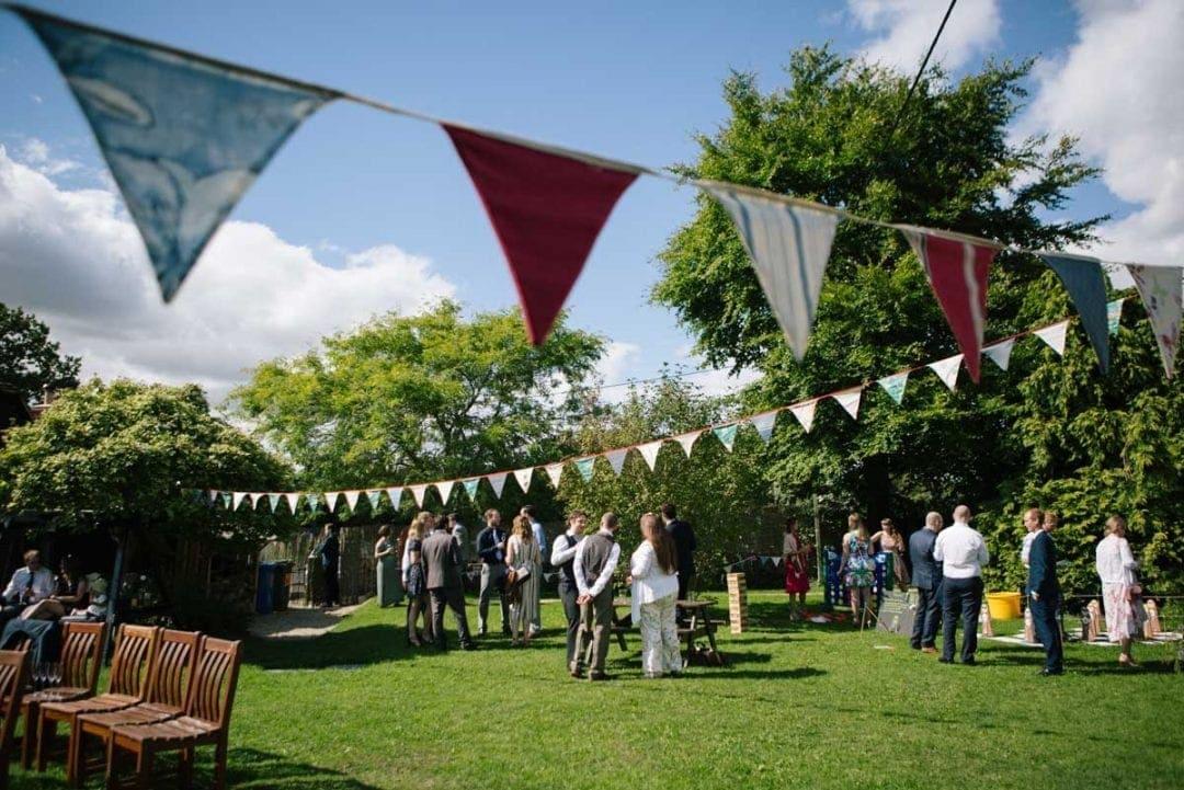 handmade bunting at outdoor wedding