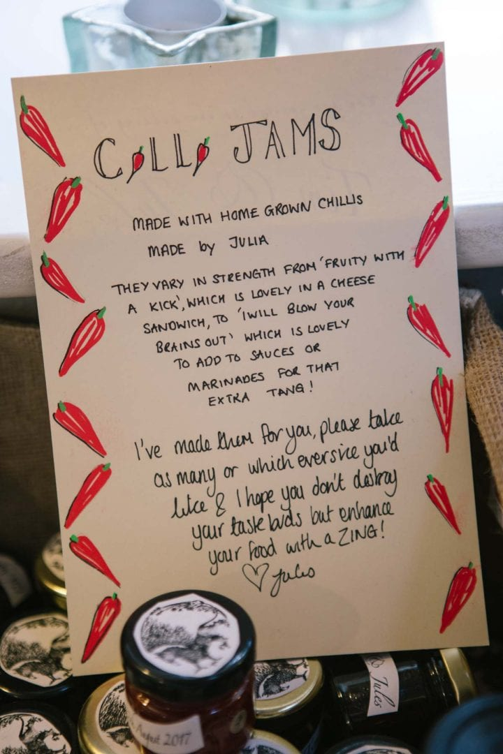 Hand drawn sign for chilli jam at a garden wedding in Oxford