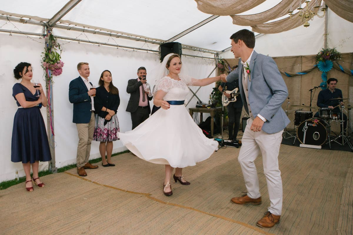 The newlyweds take to the dancefloor.