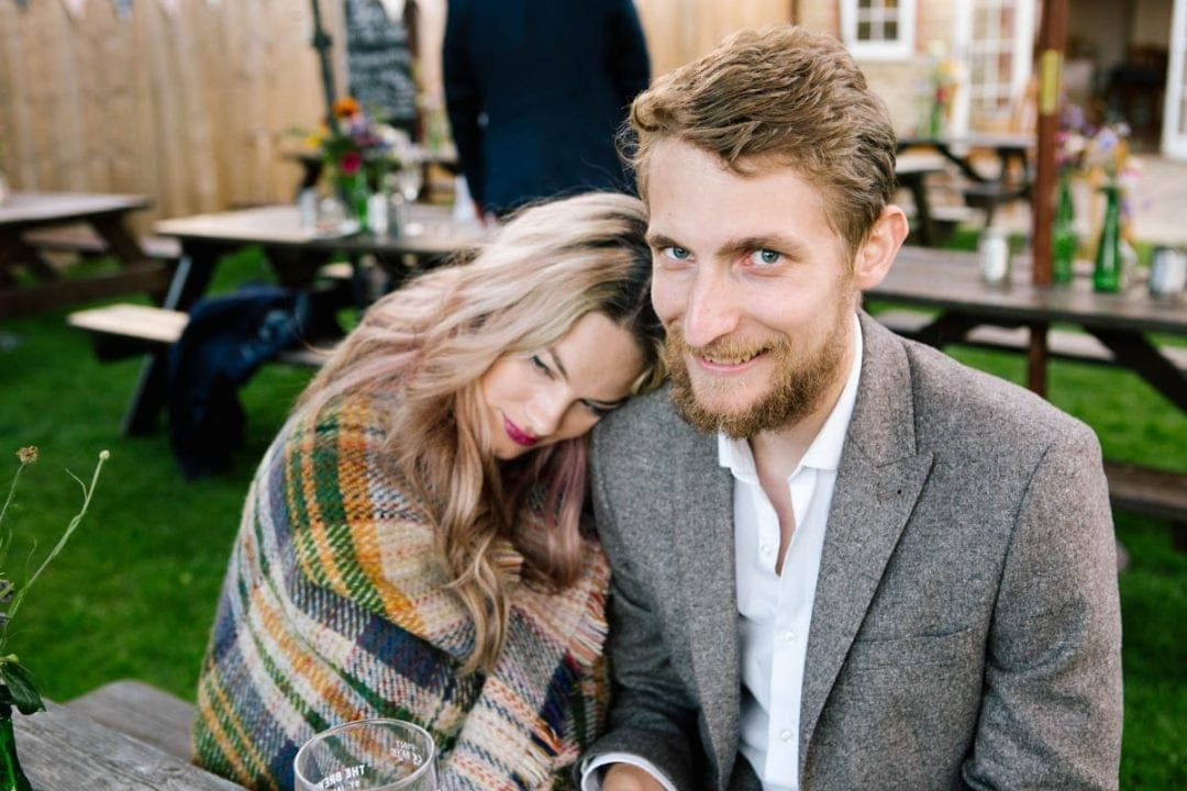 Happy couple at a garden wedding in Oxford