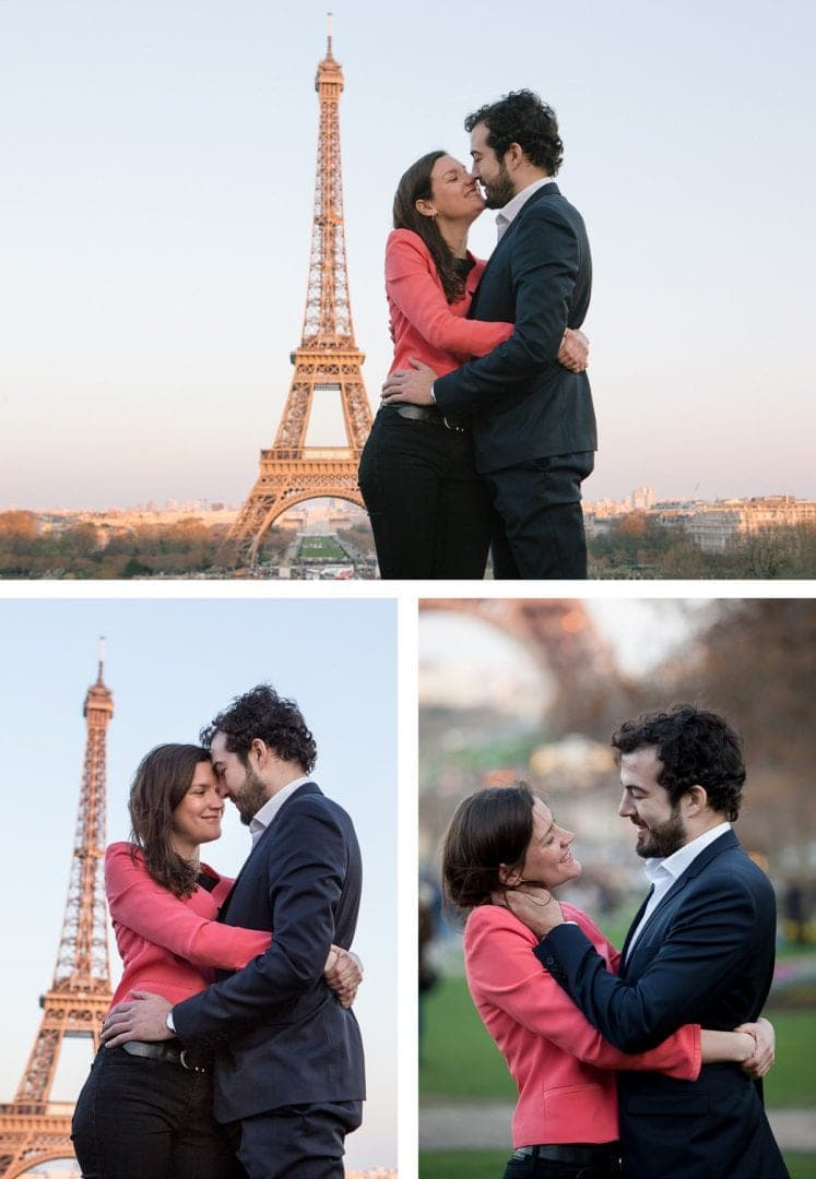 Engagement photoshoot in front of the Eiffel Tower at golden hour