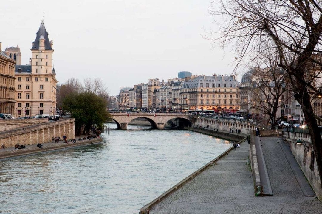 The river seine in paris at sunset