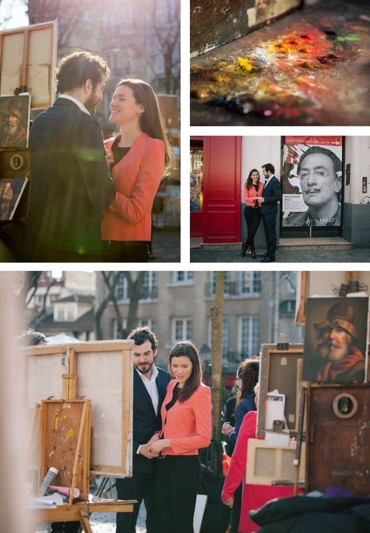 Engagement photoshoot at Place du Tertre, Paris