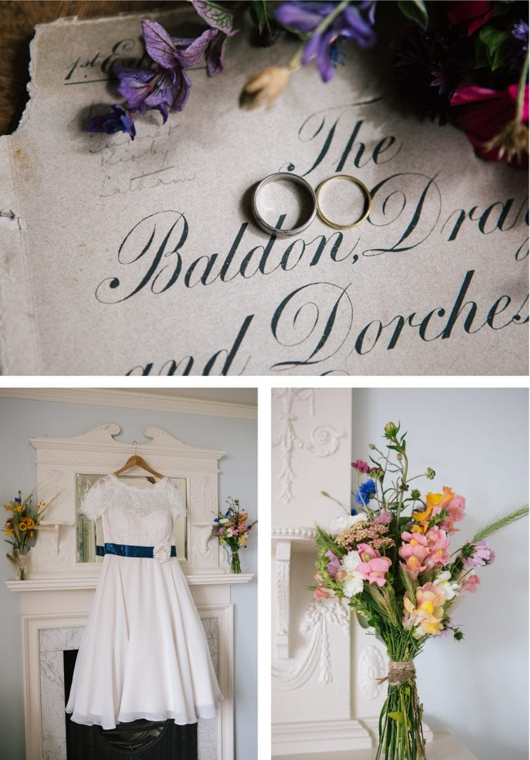 Details of bride's wedding dress and flowers at Baldon House in Marsh Baldon