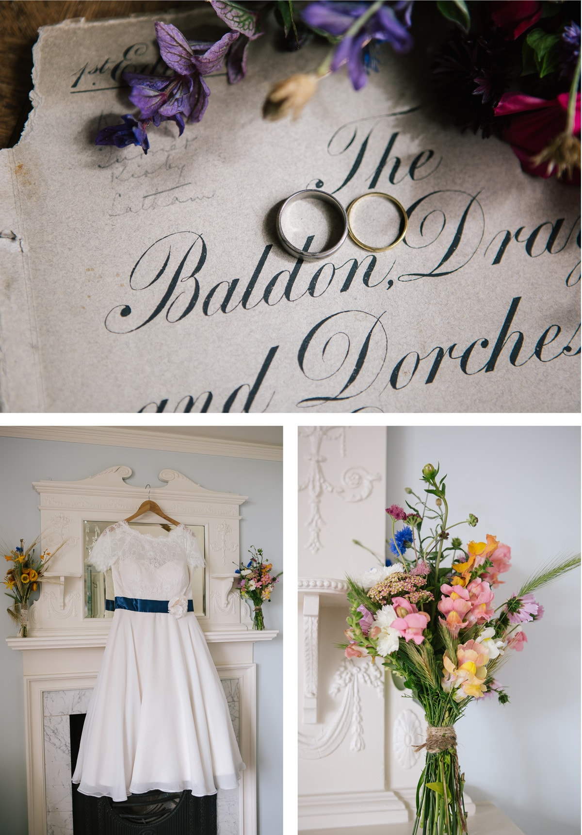 Clockwise from left: The bride's vintage tea length dress hangs above the fireplace; the wedding rings are placed on a calligraphied envelope surrounded by fresh flowers; one of the colourful bouquets tied with twine.