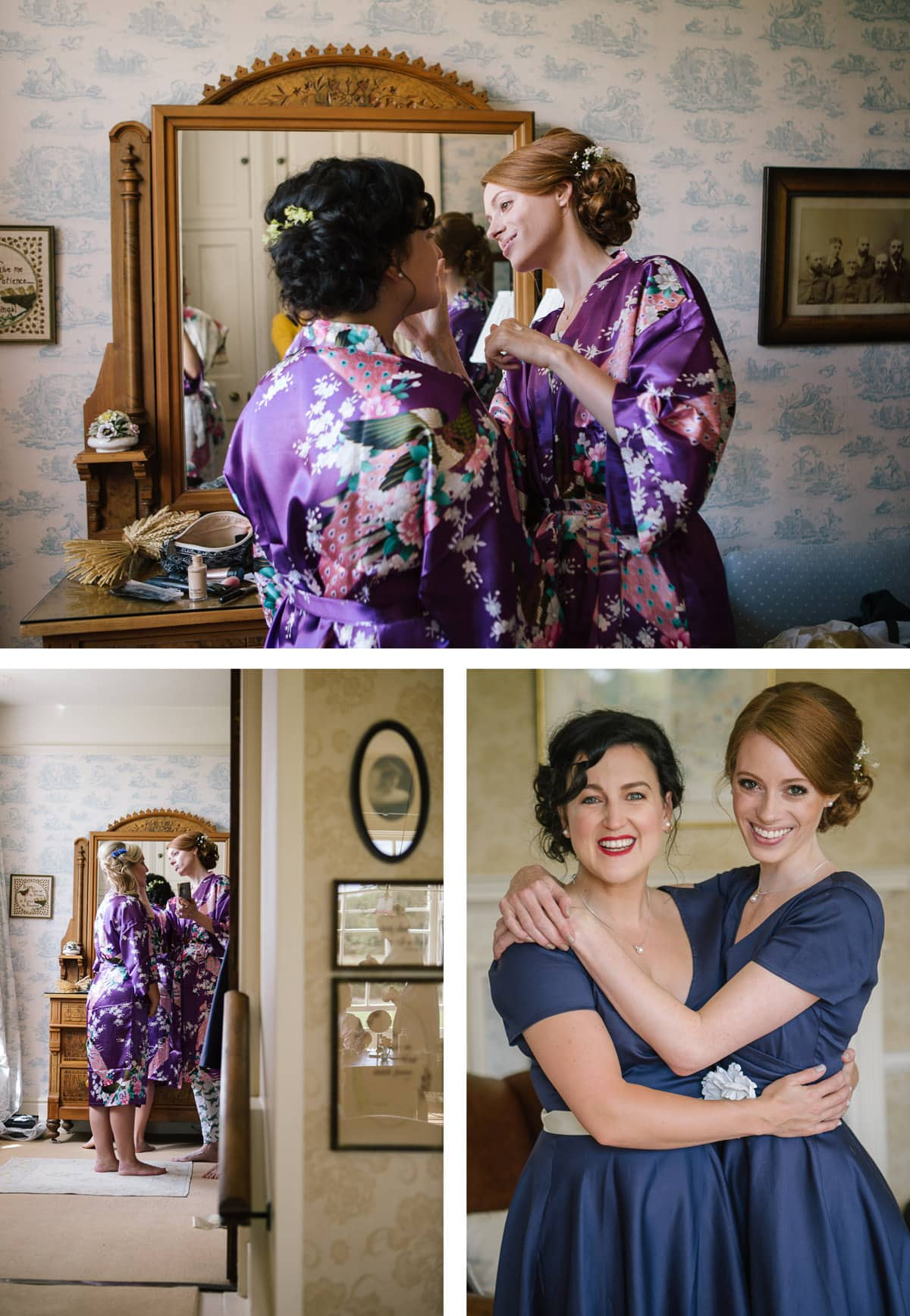 Clockwise from left: A view through the door as the bridesmaids help each other with hair and makeup; one bridesmaid applies blusher to another's cheek; the two bridesmaids are ready for the wedding, wearing navy vintage style gowns.
