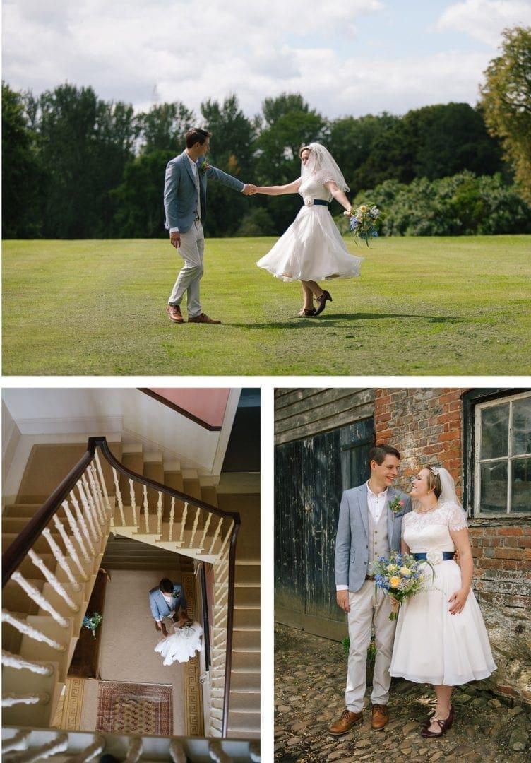 Bride and groom portraits at Baldon House in Marsh Baldon