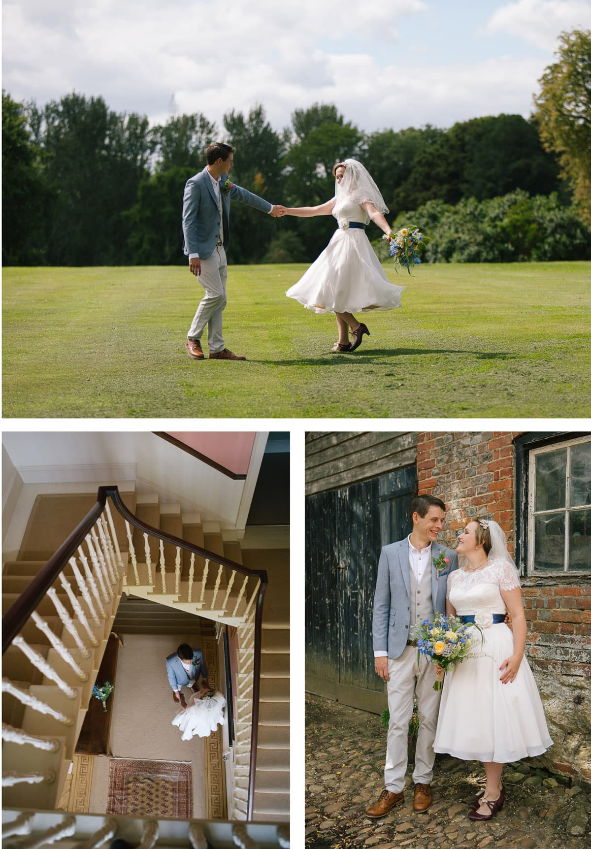 Clockwise from left: A view from above looking down the staircase as the bride and groom greet each other; bride Julia shows off her twirls in her 50s style wedding dress; the couple gaze at each other and grin