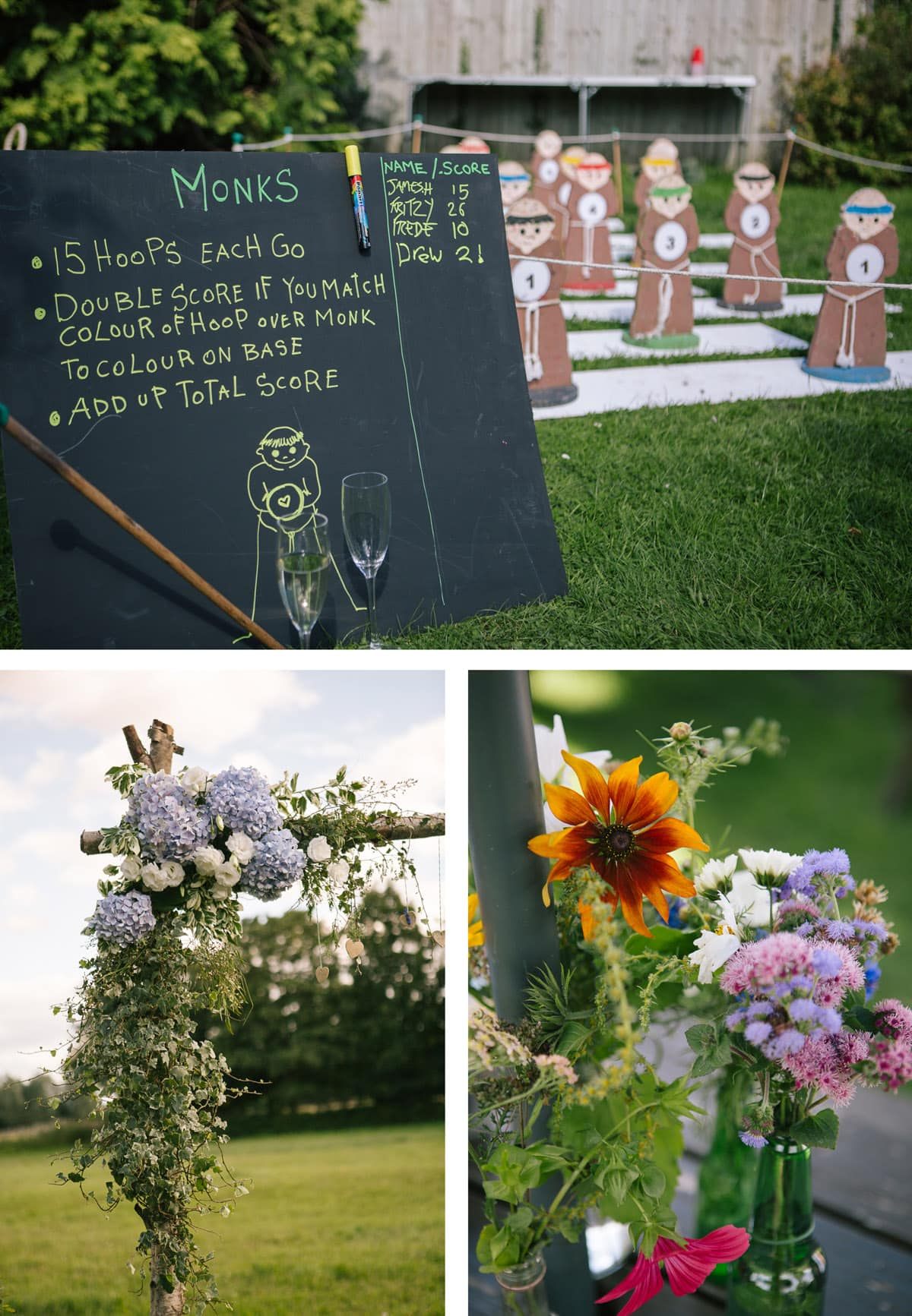 Clockwise from left: A close up of the ceremony arch decked out in flowers; one of the quirky garden games - monks hoopla; a close up of some of the bright flowers in bud vases