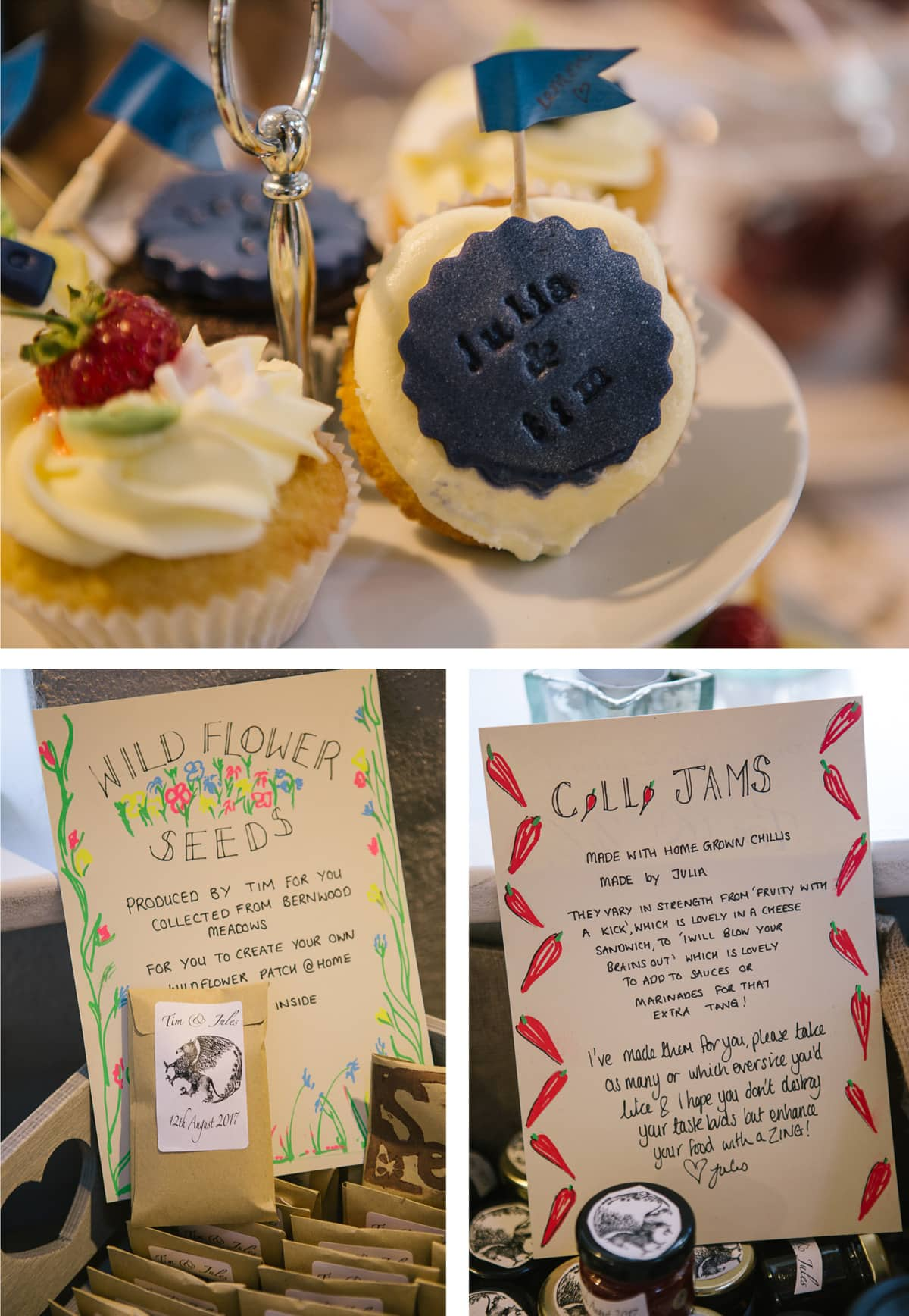 A close up of some of the thoughtful, handmade details. Cakes stamped with the couple's names, packets of wildflower seeds as favours, and a range of chilli jams including tasting notes!