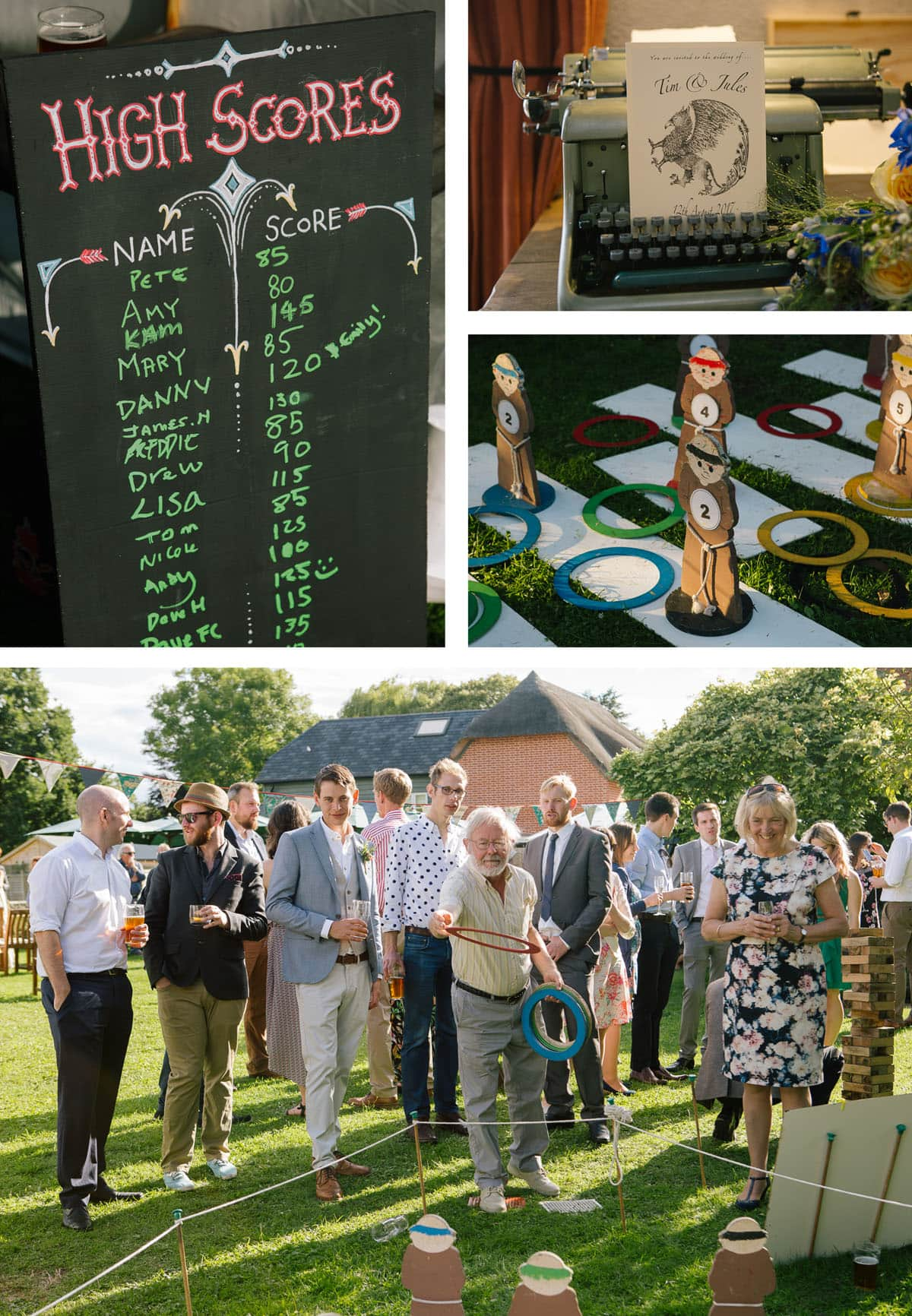 A chalkboard shows the high scorers in the garden games; the guestbook is presented on an old typewriter; hoopla rings lie scattered around the wooden monks
