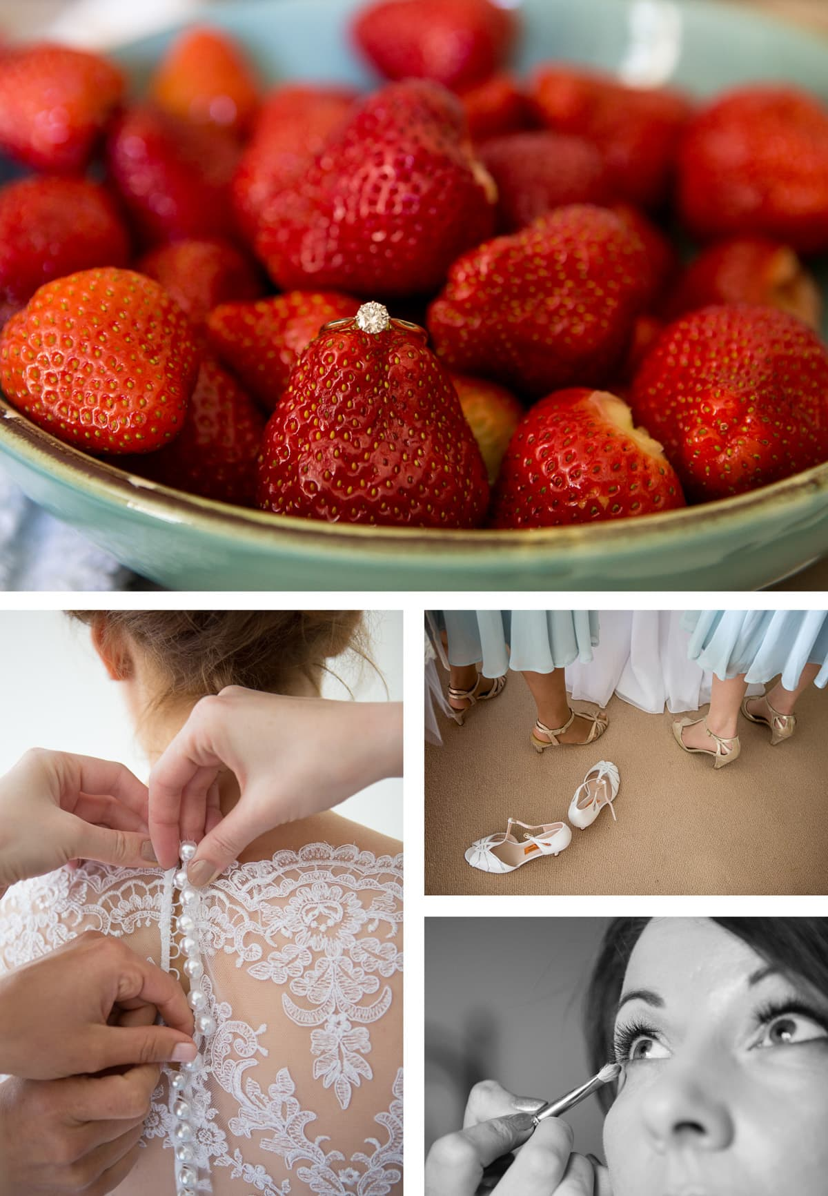 Collage of images from left: bride's dress is done up; diamond ring sits in a bowl of strawberries; bridesmaids dresses and shoes; bride gets her makeup done
