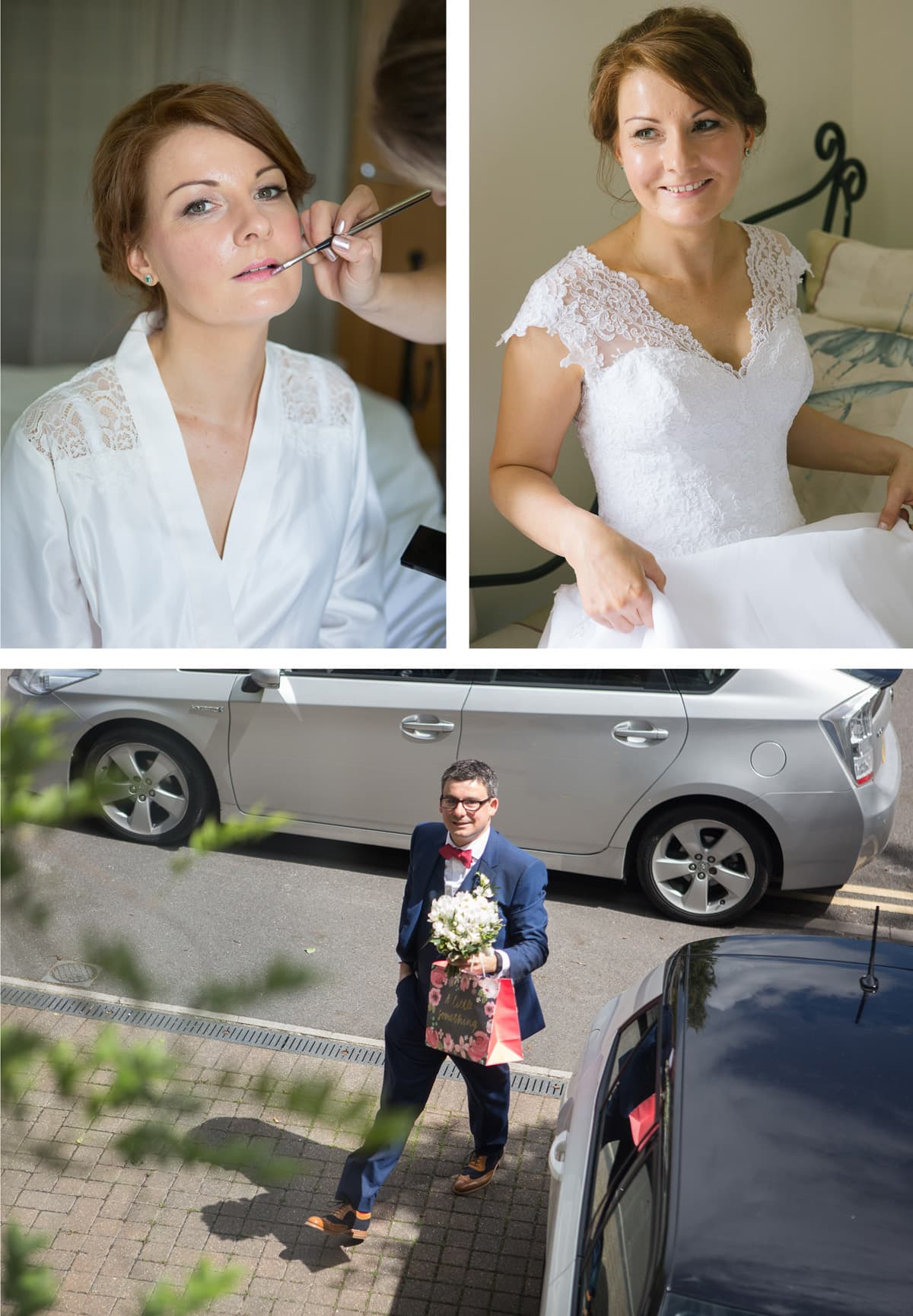 Collage of images from left: Bride has her makeup done; bridal portrait in lace cap sleeved dress; groom arrives with bouquet to pick up his bride