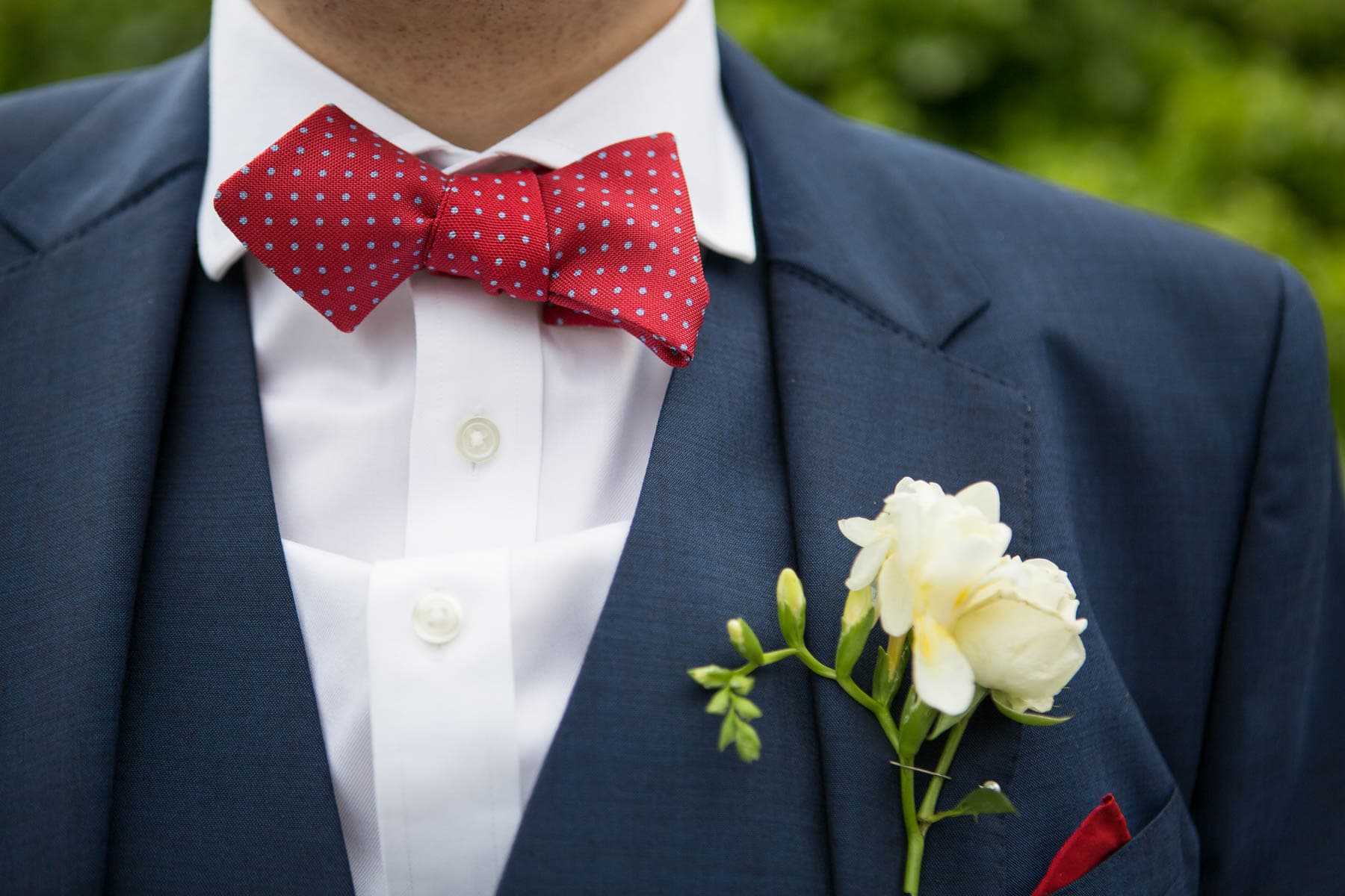 Close up of groom's bowtie and boutonniere