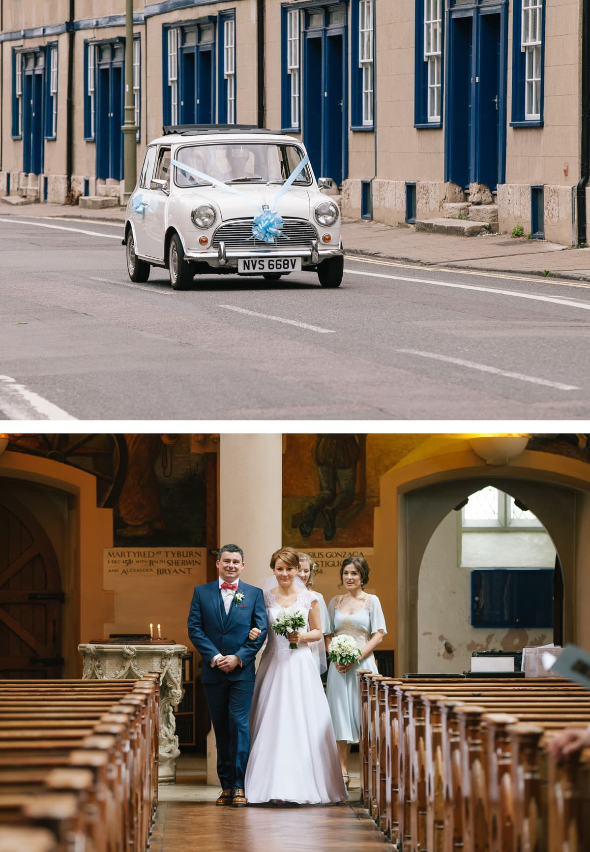 Collage of images from top: Vintage mini on the way to the church driven by groom; bride and groom walk down the aisle together