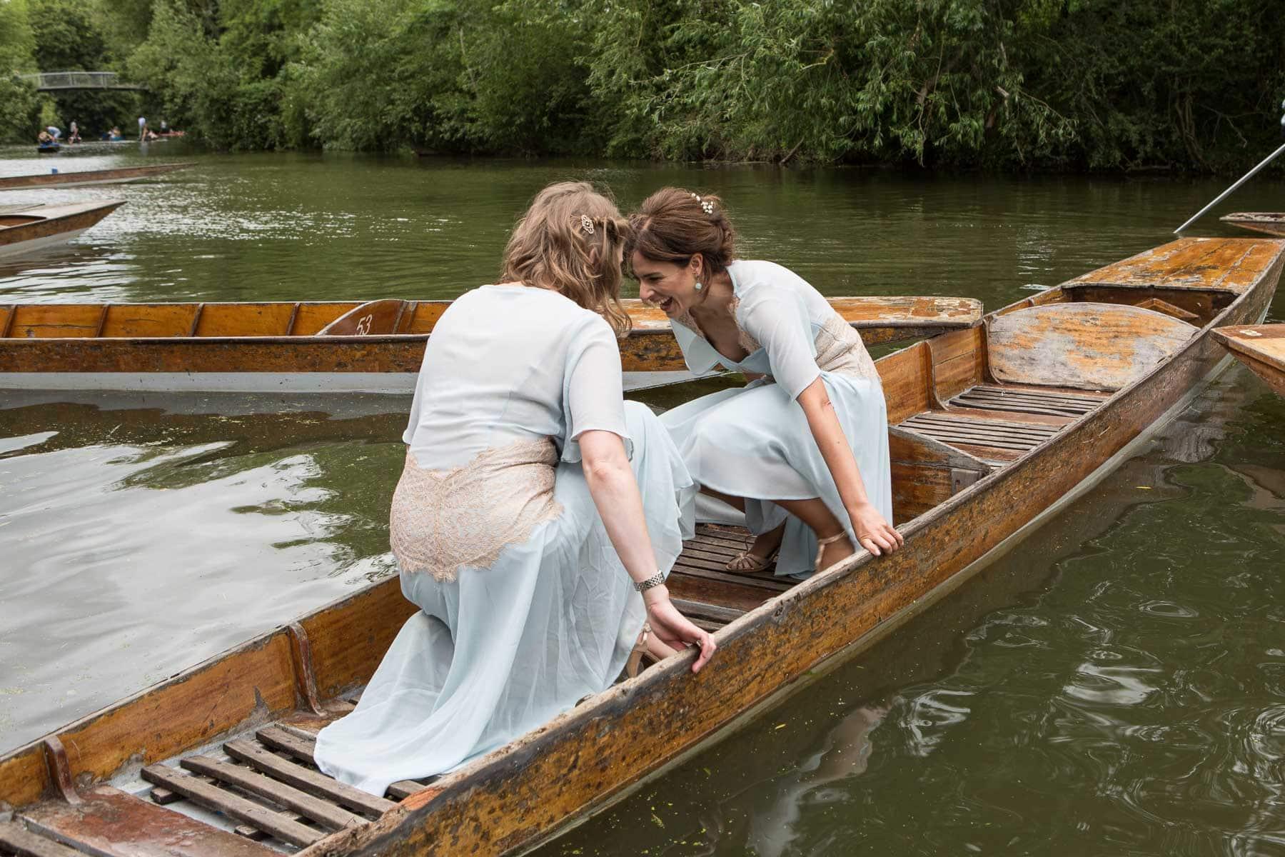 Bridesmaids wobble in a punt