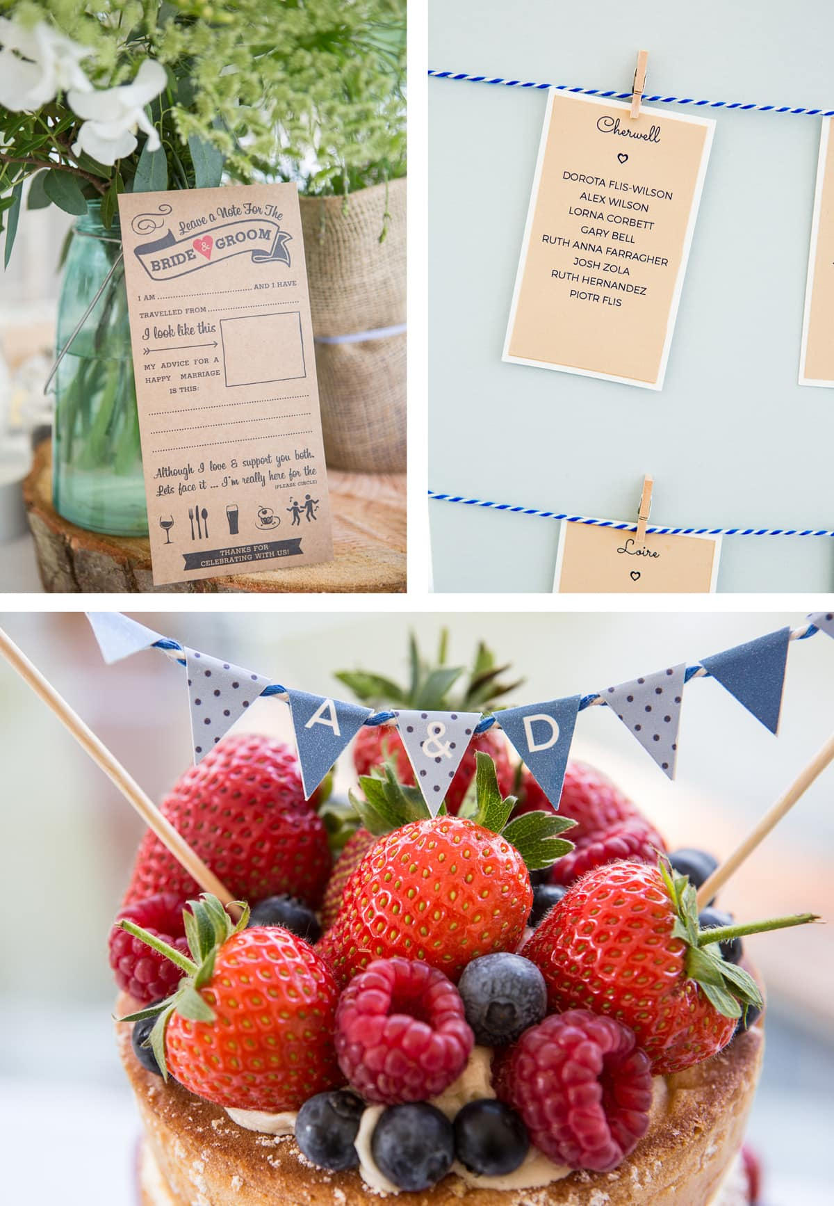 Collage of images from left: A note from the bride and groom for guests to fill in; a close up from the seating plan; summer fruits on top of the cake