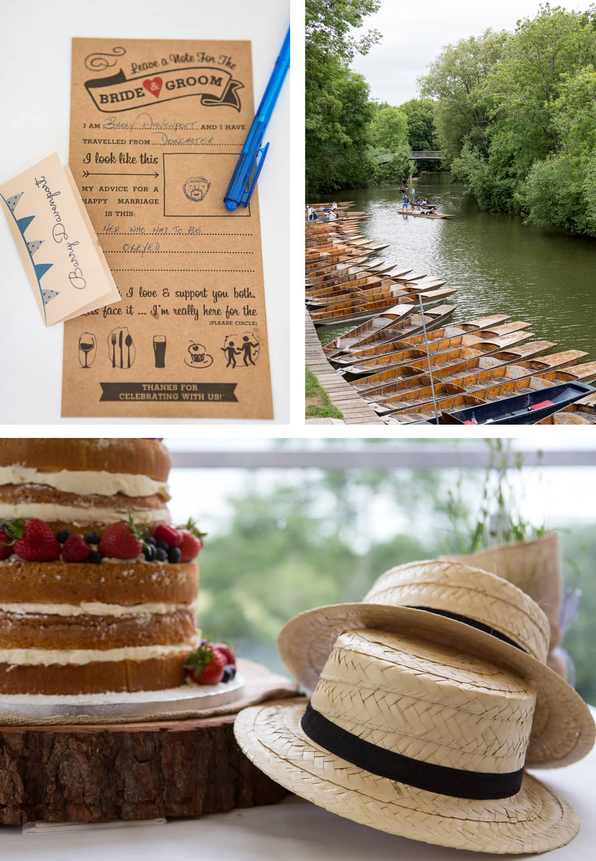 Collage of images from left: A completed note for the bride and groom, complete with sketch; punts lined up on the river Cherwell; straw boater hats piled up next to the wedding cake