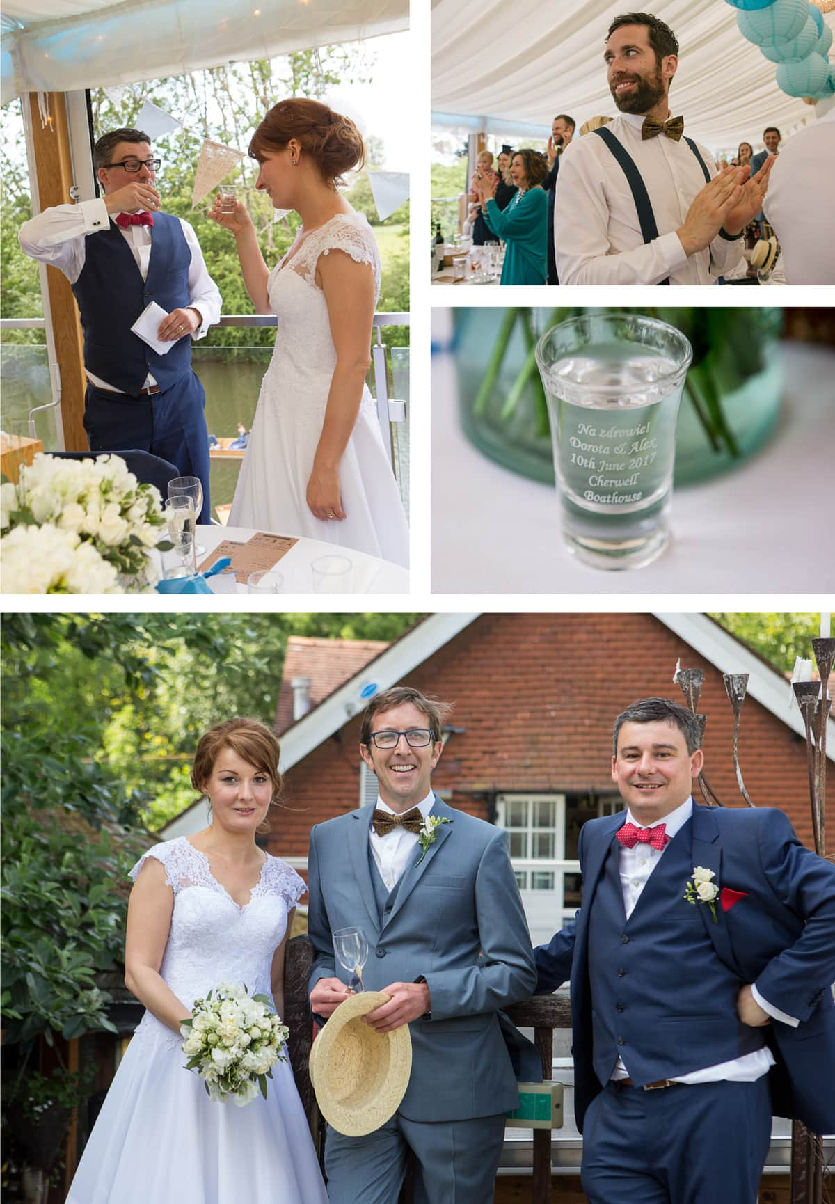 Collage of images from left: Bride and groom toast each other with vodka; guests applaud after the speeches, a close up of an engraved shot glass with vodka in it; bride, groom and best man pose together in front of the venue