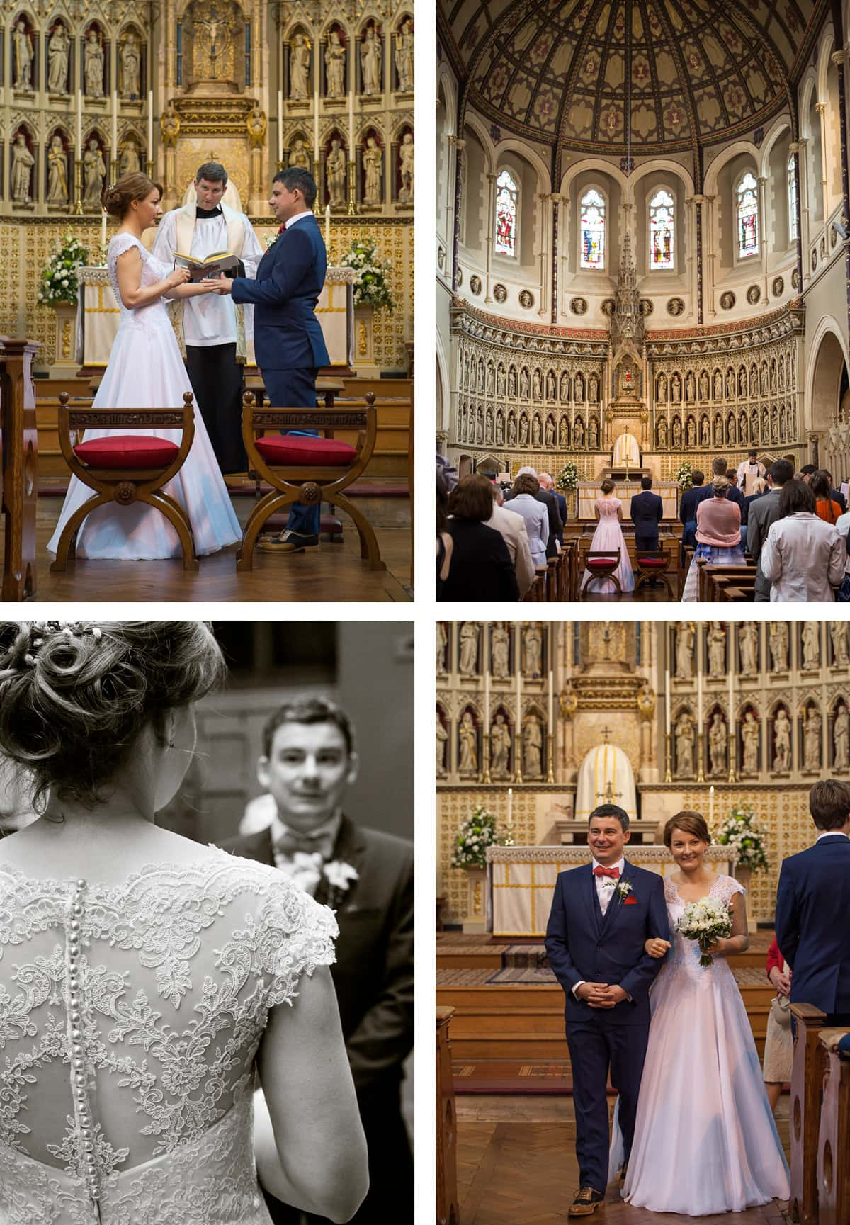 Collage of images from left: Groom holds hands with bride at altar; shot of congregation and beautiful dome in the church; bride and groom together at the altar; black and white shot of groom from over bride's shoulder