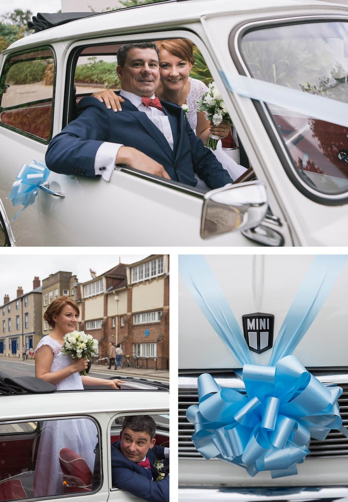 Collage of images from left: Bride stands up in vintage mini with head through sunroof; bride and groom seated together in vintage mini; close up of pale blue ribbon on car