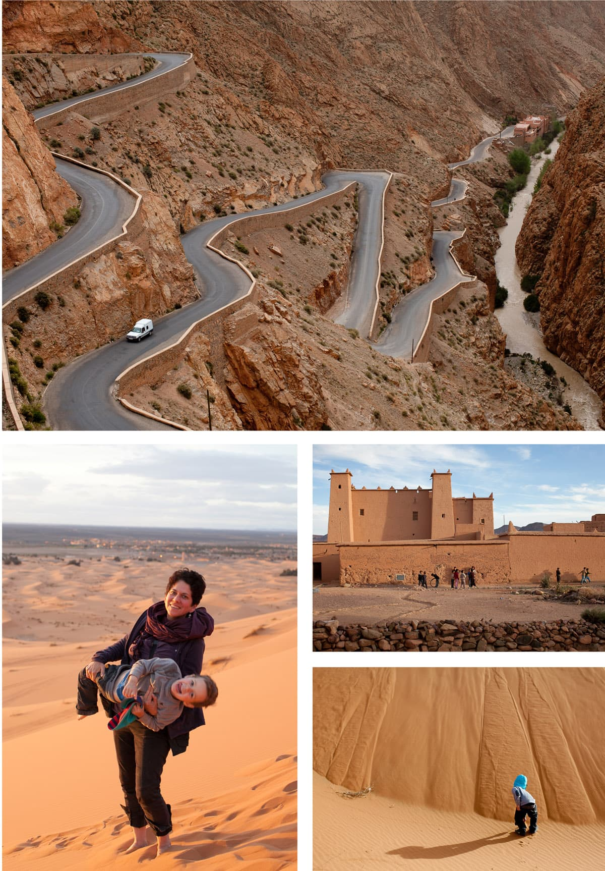 Collage of travel images in and around Morocco. Winding mountain roads and tall sand dunes.