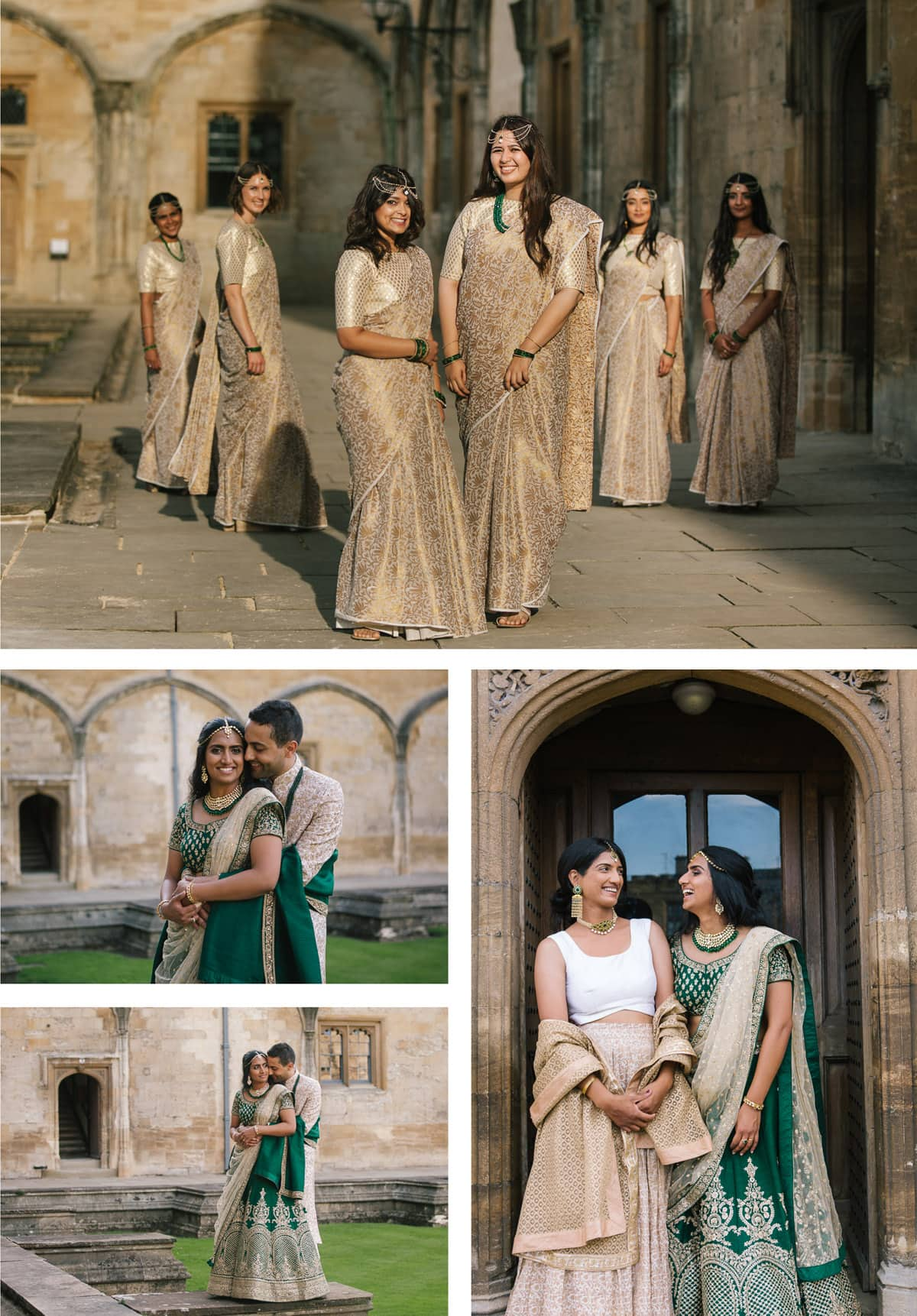 Bridal party and couples shots from Indian wedding at Christchurch college