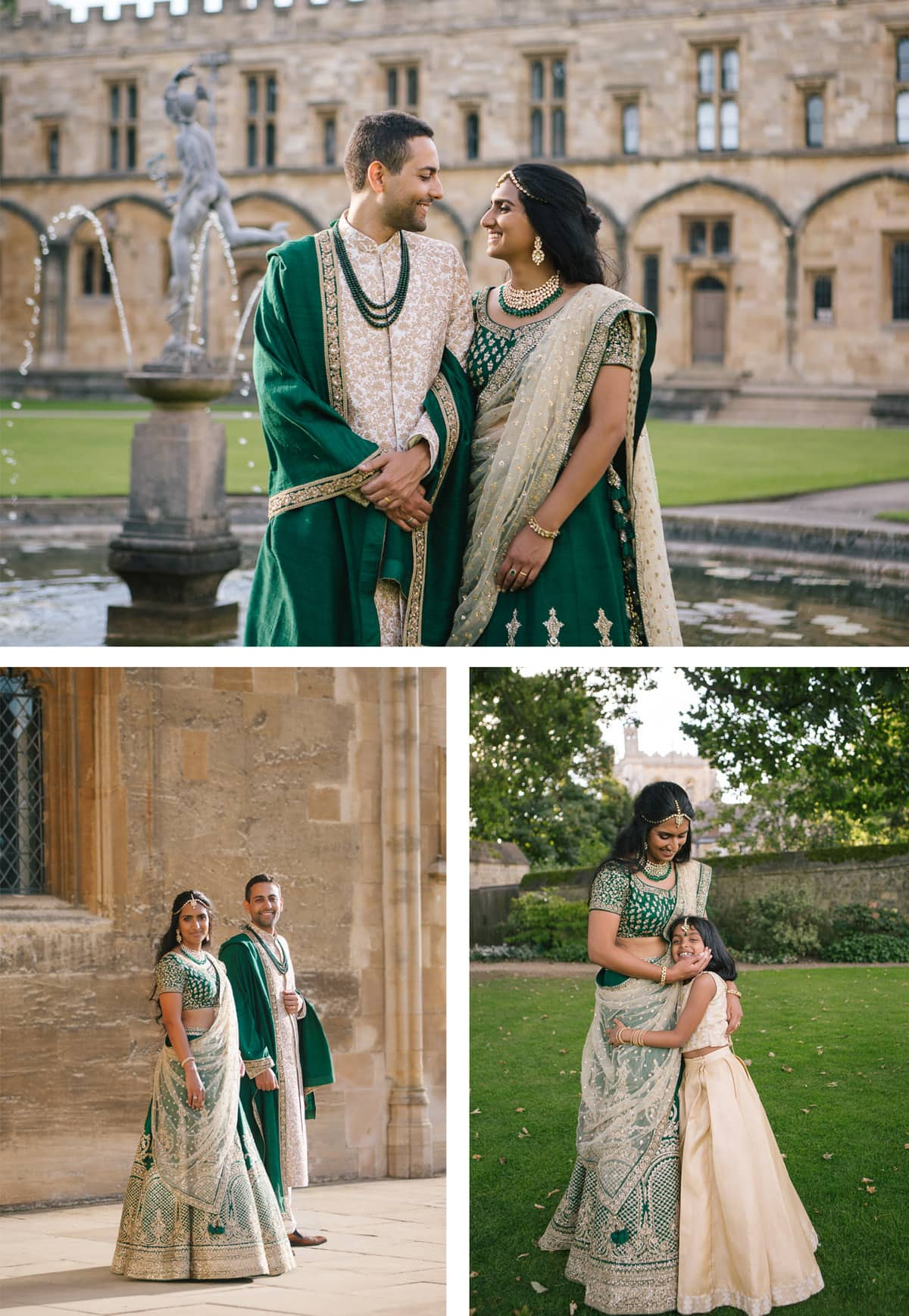 Bride and groom portrait shots at Indian wedding Christchurch college Oxford