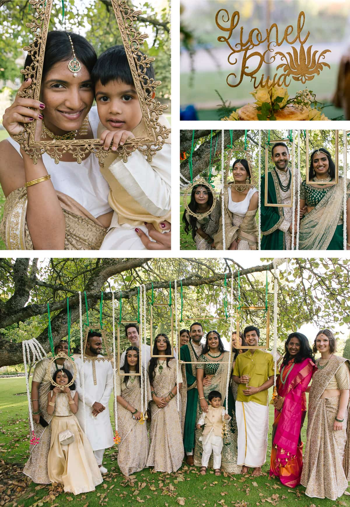 Fun group shots with hanging picture frames at Indian wedding at Christchurch College