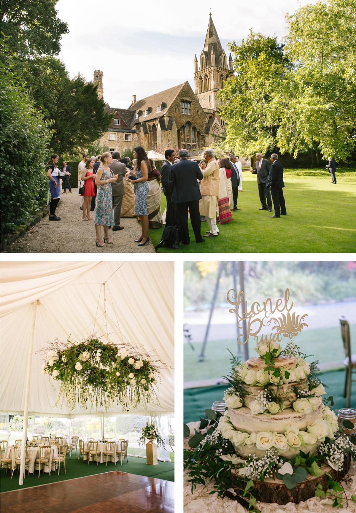 Details from Indian wedding at Christchutch college - hanging flowers and tiered wedding cake