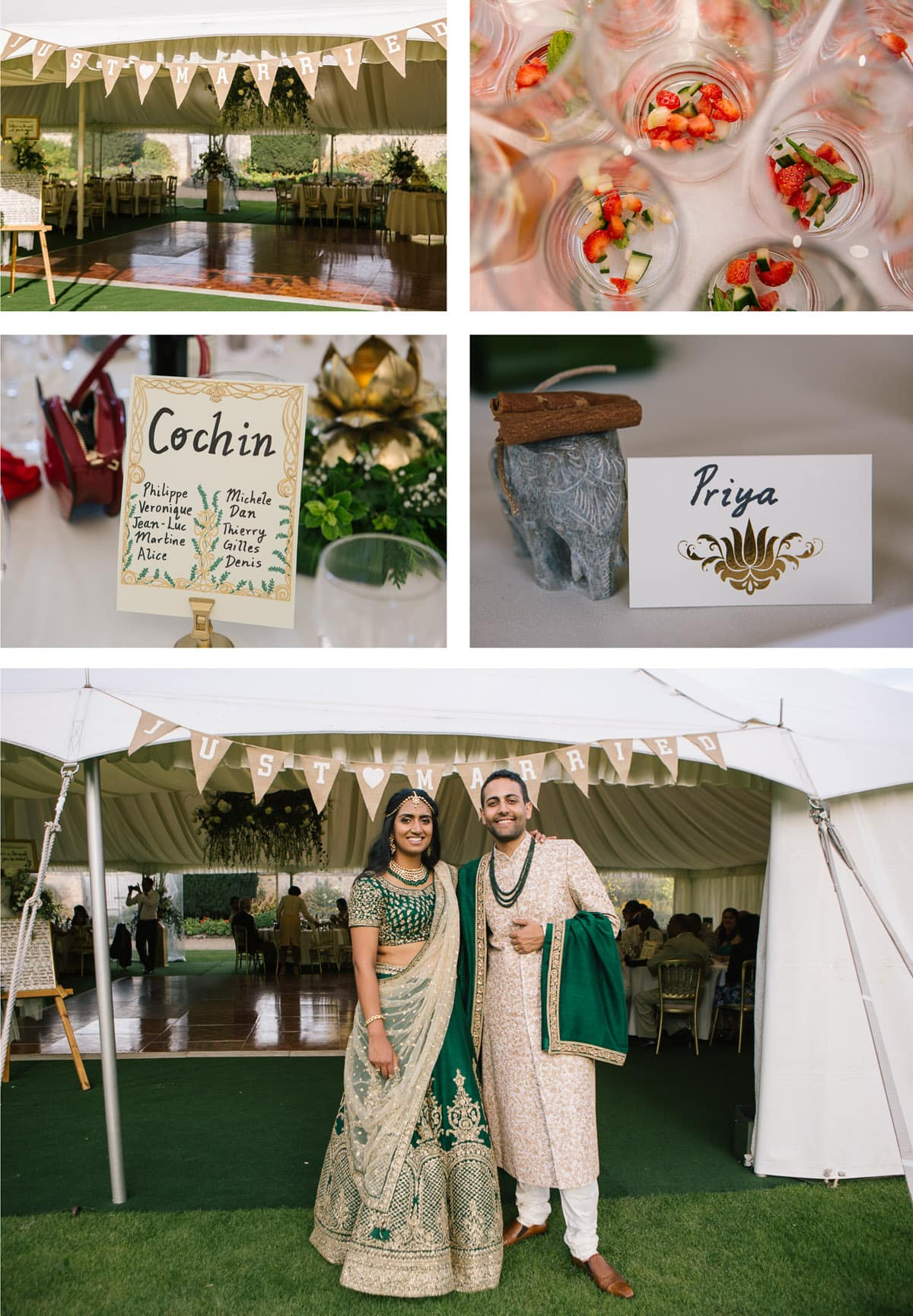 Collage of details from marquee reception at Indian wedding at Christchurch College