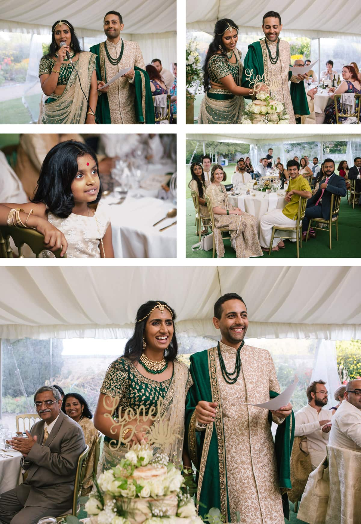 Collage of images of speeches and cake cutting at Indian wedding at Christchurch college