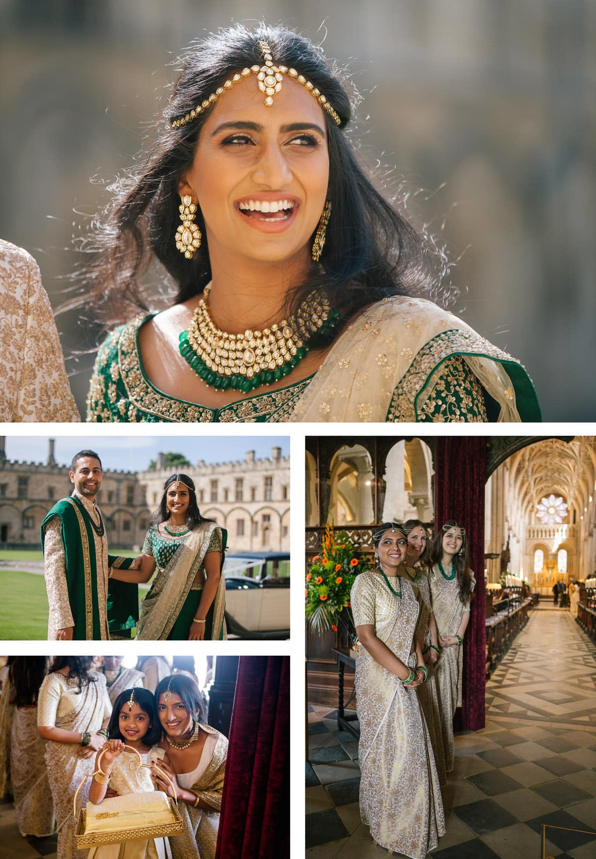 Indian wedding at Christchurch college. Bride and groom in green and gold