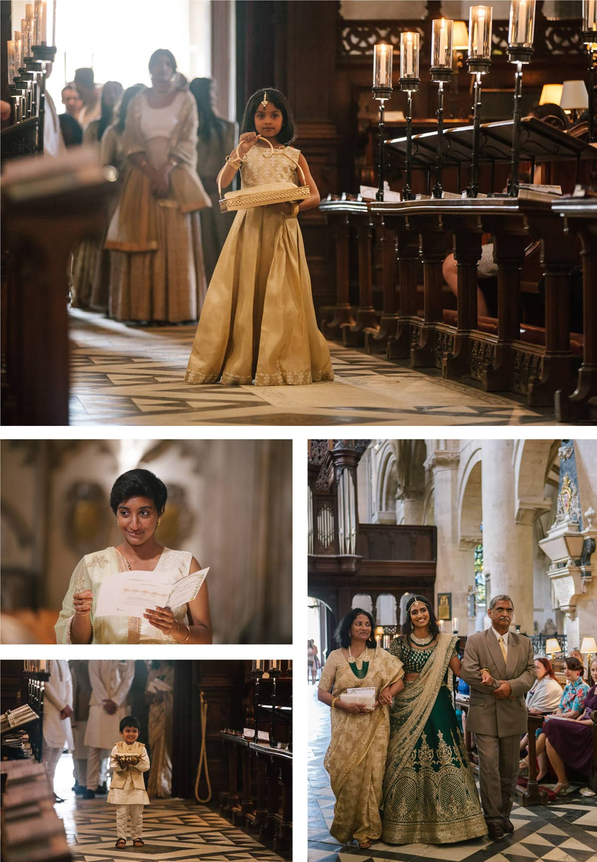 Collage of images from Indian Catholic ceremony in Christchurch College Oxford