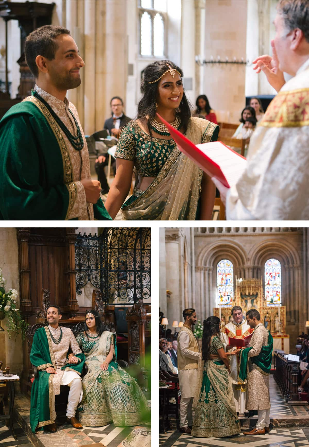 Indian wedding ceremony at Christchurch college. Bride and groom in green and gold.