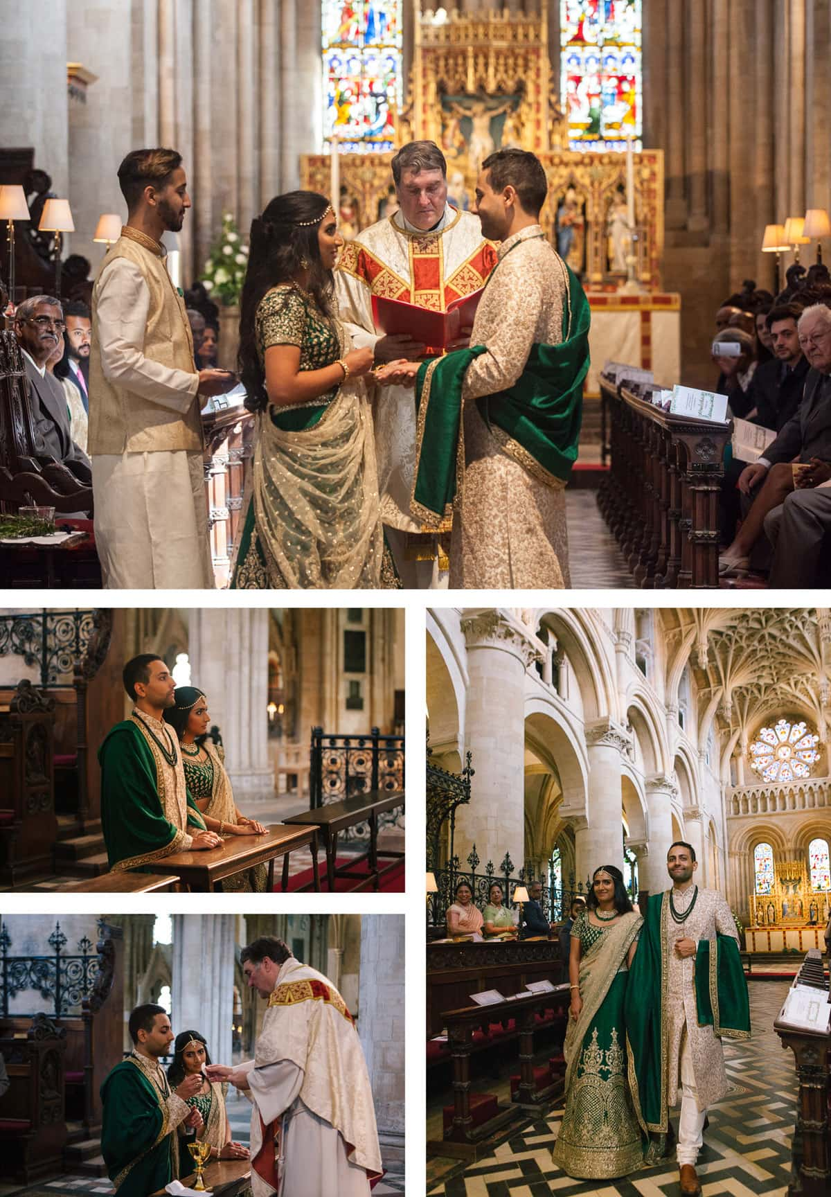 Collage of images from Indian catholic wedding ceremony at Christchurch college