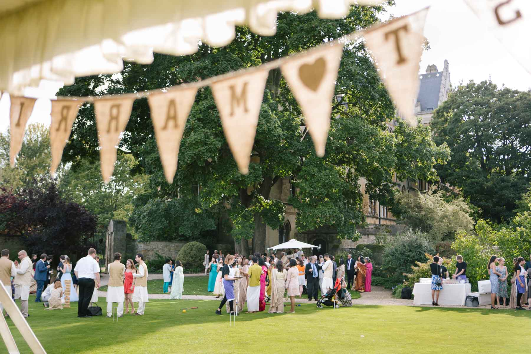 Just Married bunting at marquee in Christchurch College