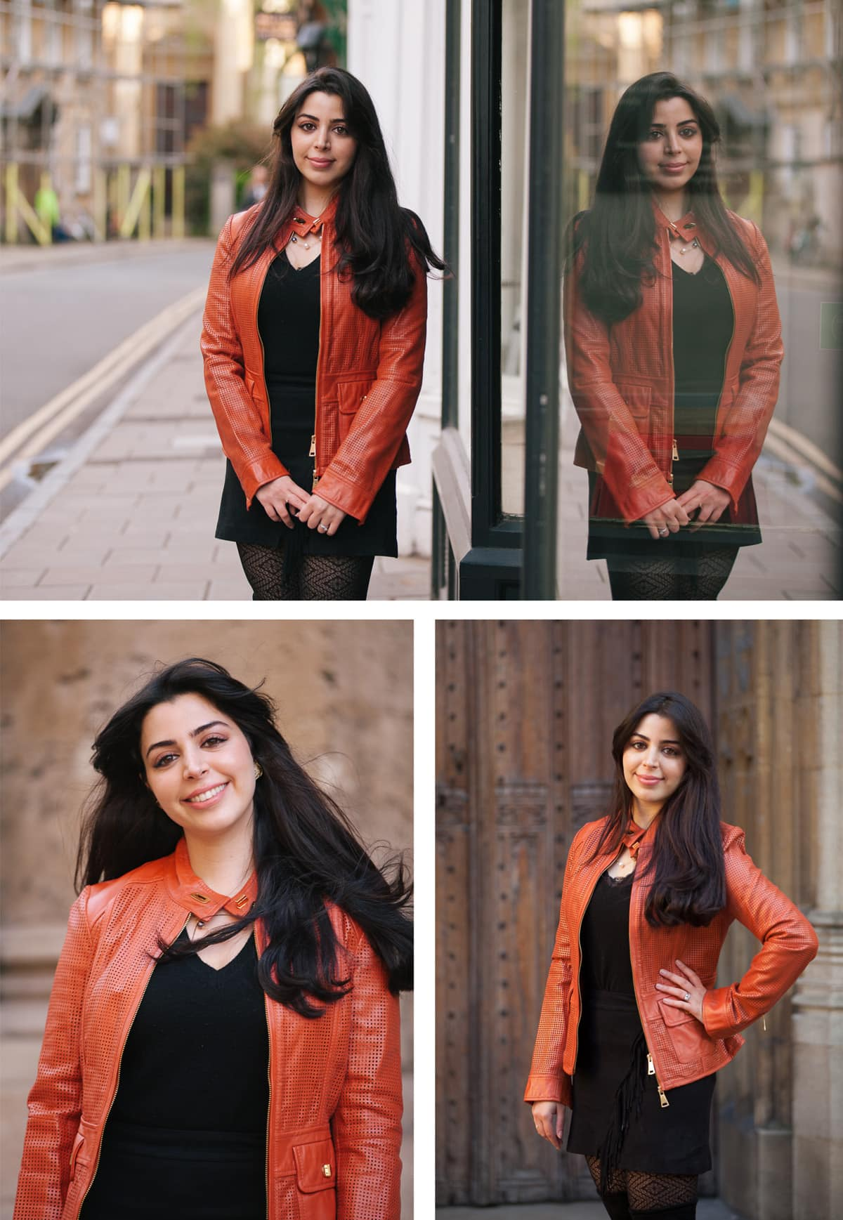 Collage of images from a portrait shoot in and around Oxford. Woman wears black dress and orange leather jacket