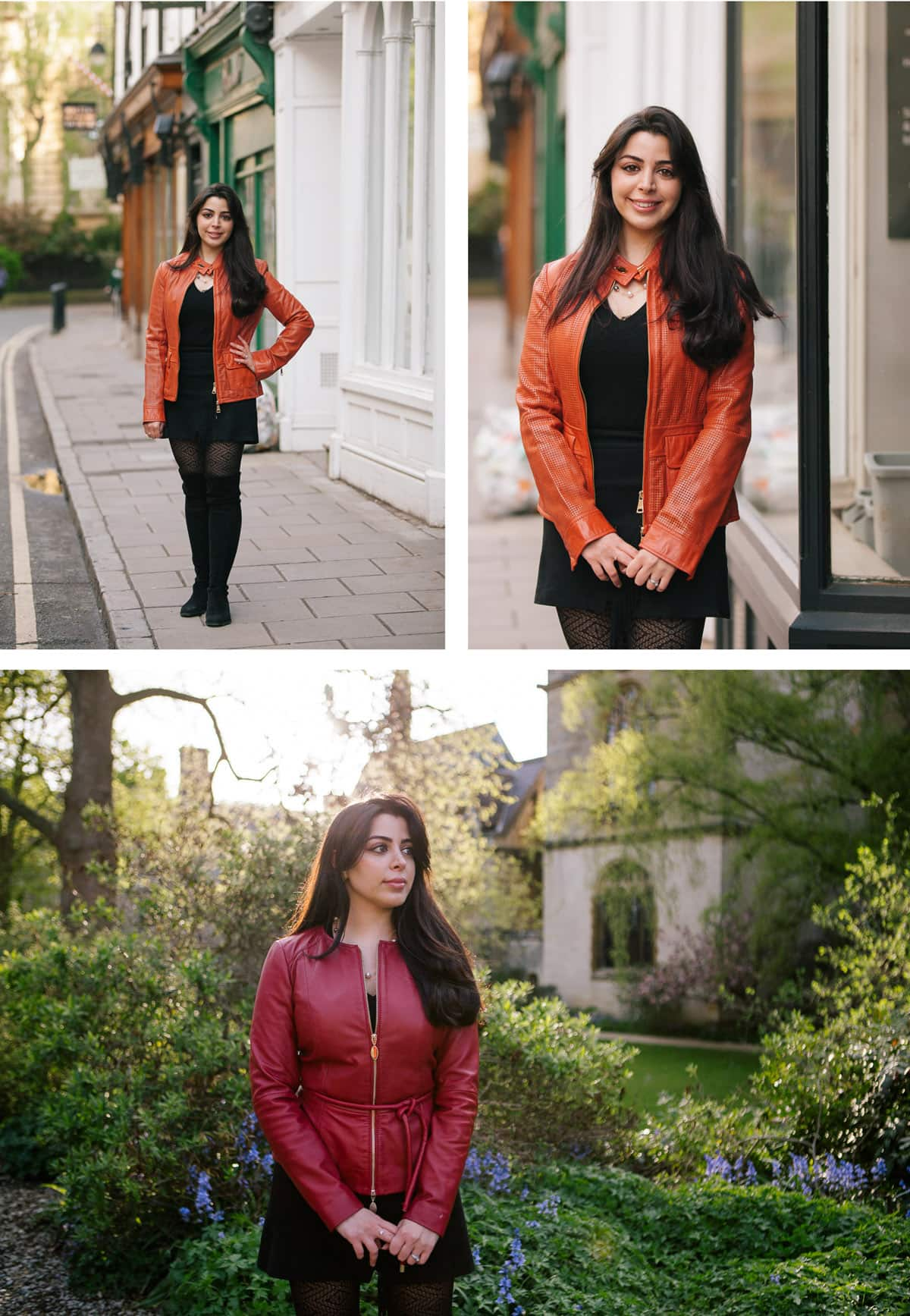 Collage of images from Oxford portrait shoot. Woman wearing black dress with different coloured jackets in and around the city