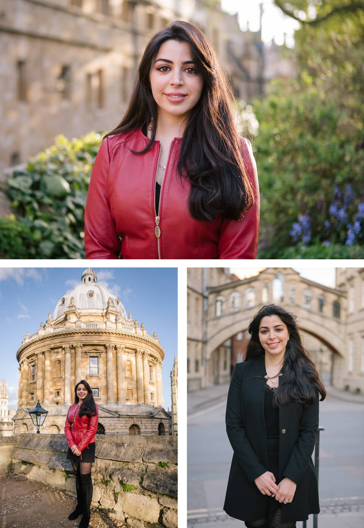 Collage of images of portrait shoot in and around Oxford, including by the Bridge of Sighs.