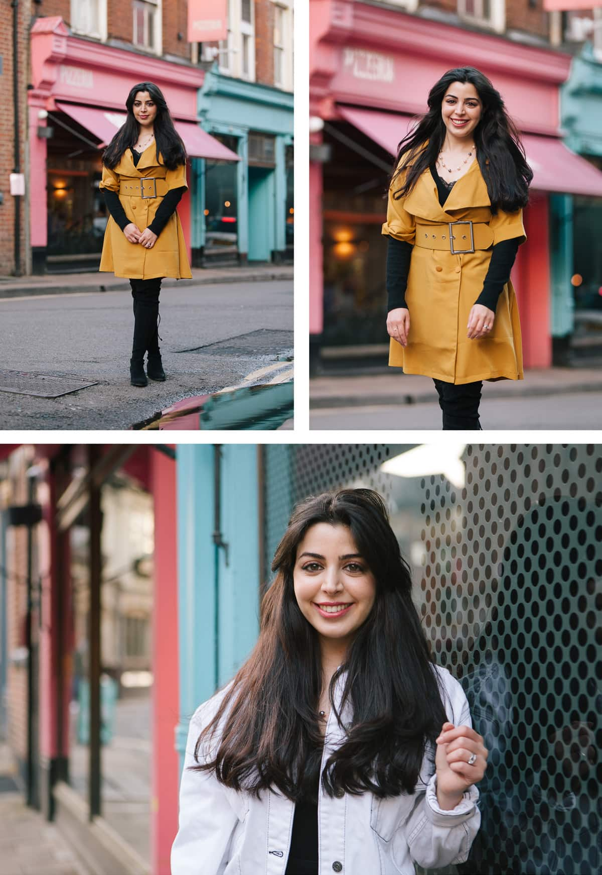 Collage of images from a portrait shoot in and around Oxford. Woman wears black dress with yellow belted jacket and white denim jacket.