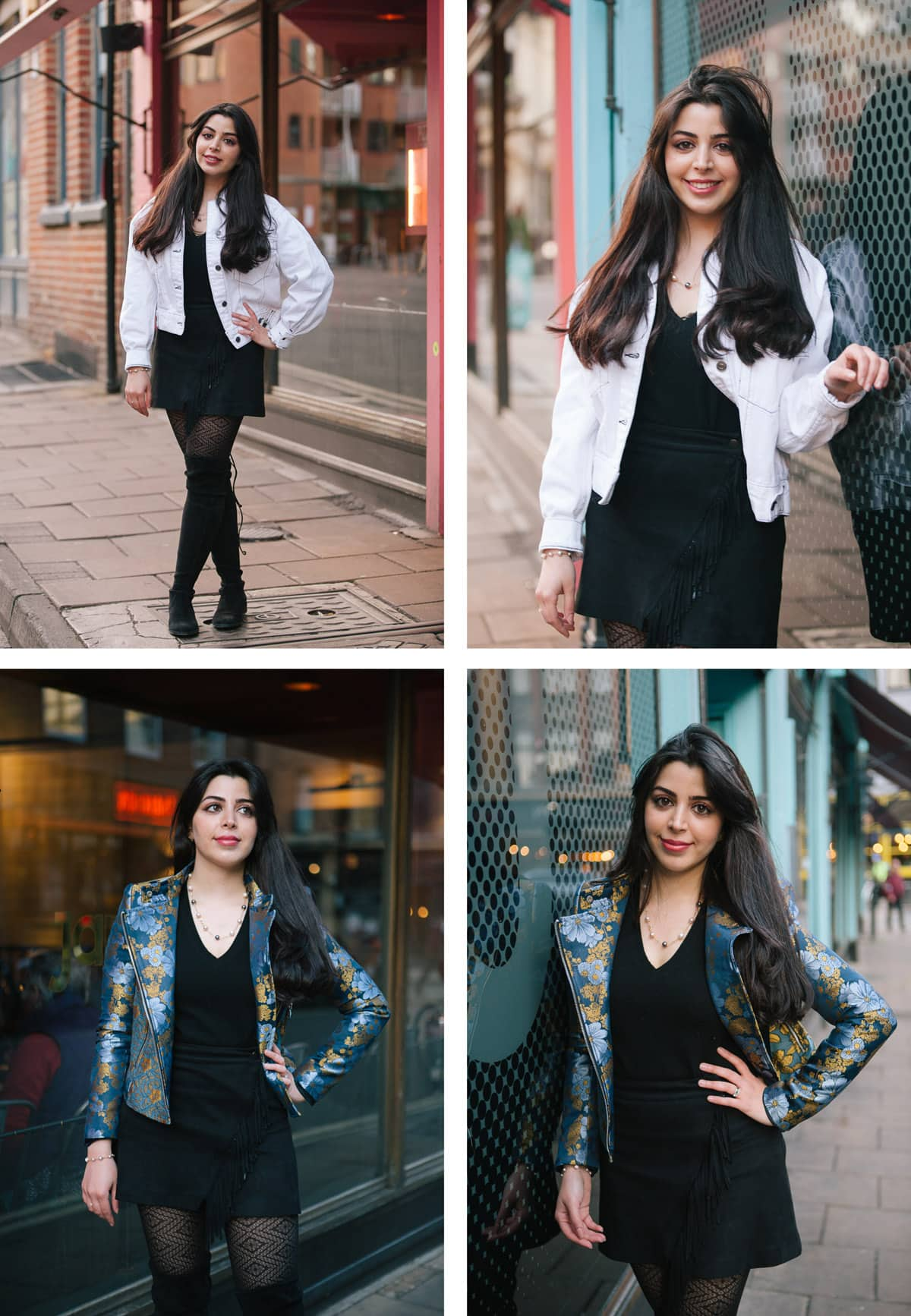 Collage of images of a portrait shoot in and around Oxford. Woman wears black dress with a range of differently coloured jackets