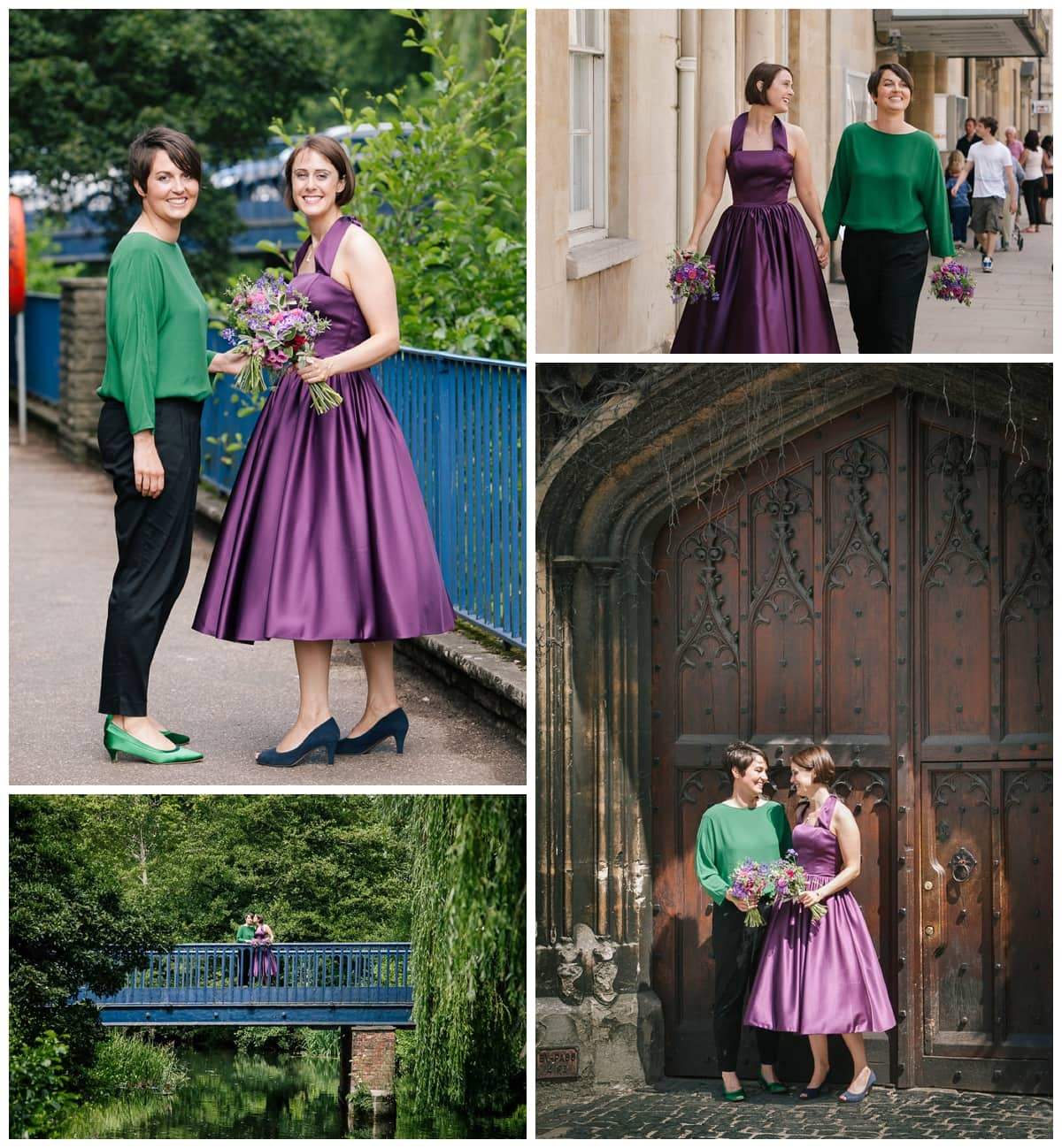 Collage of images from lesbian wedding in Oxford with brides in purple and green