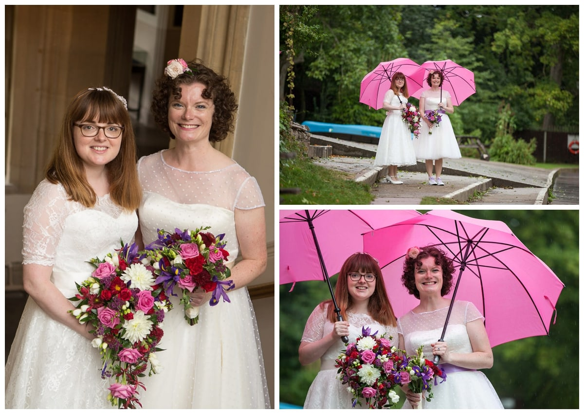 Collage of images of lesbian brides with pink flowers and pink umbrellas