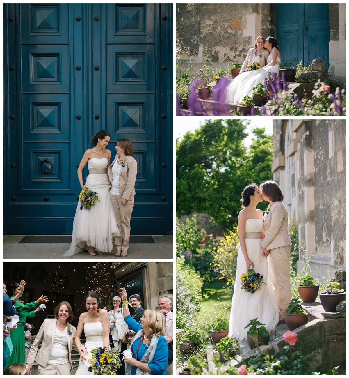 Collage of images of lesbian wedding in Oxford at Ashmolean Museum