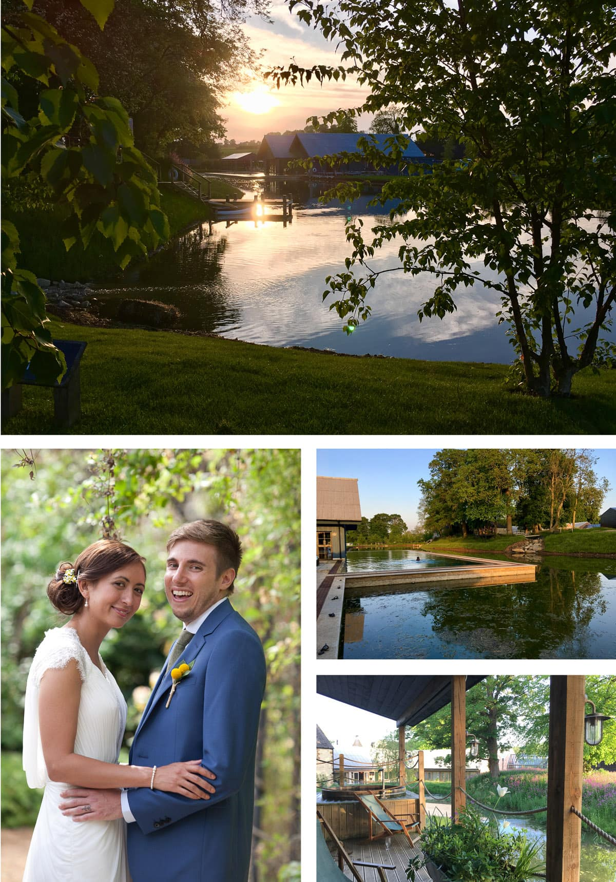 Collage of images taken at Soho Farmhouse, unique Oxfordshire venue