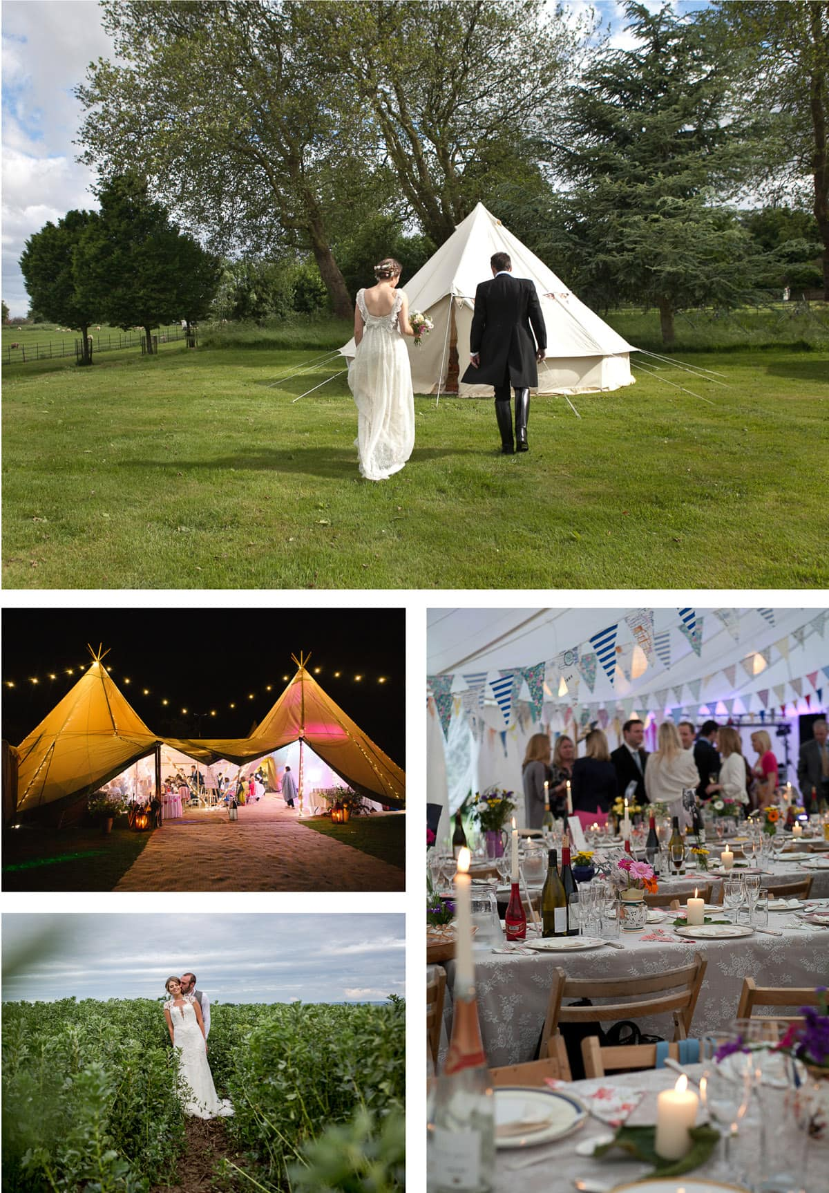 Collage of images of tipi and marquee weddings