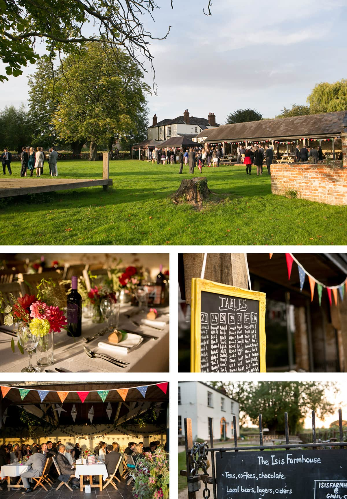 Collage of images showing a wedding at The Isis Farmhouse pub in Oxford